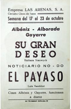 Contracubierta de PROGRAMA DE MANO. SU GRAN DESEO (Douglas Sirk) Universal. BARBARA STANWYCK