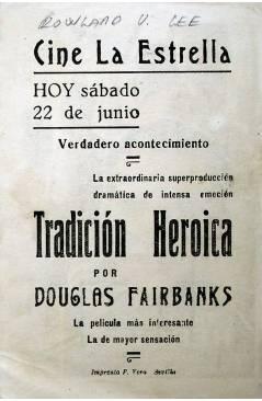 Contracubierta de PROGRAMA DE MANO. TRADICIÓN HEROICA (Rowland V. Lee) Universal. DOUGLAS FAIRBANKS
