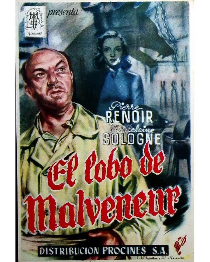 Cubierta de PROGRAMA DE MANO. EL LOBO DE MALVENEUR. PIERRE RENOIR MADELEINE SOLOGNE