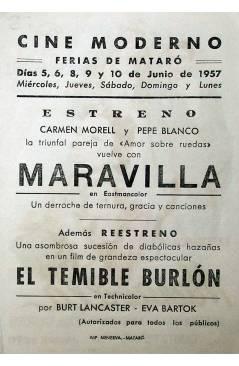 Contracubierta de PROGRAMA DE MANO. MARAVILLA (Javier Setó) 1957. CARMEN MORELL PEPE BLANCO MARI CONCHI MAHOR