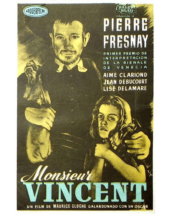 Cubierta de PROGRAMA DE MANO. MONSIEUR VINCENT (Maurice Cloche). PIERRE FRESNAY AIME CLARIOND JEAN DEBUCOURT
