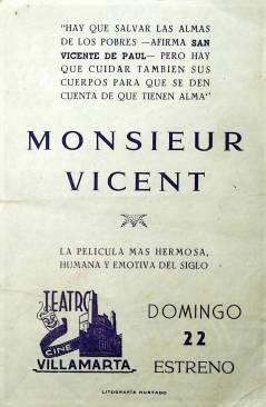 Contracubierta de PROGRAMA DE MANO. MONSIEUR VINCENT (Maurice Cloche). PIERRE FRESNAY AIME CLARIOND JEAN DEBUCOURT