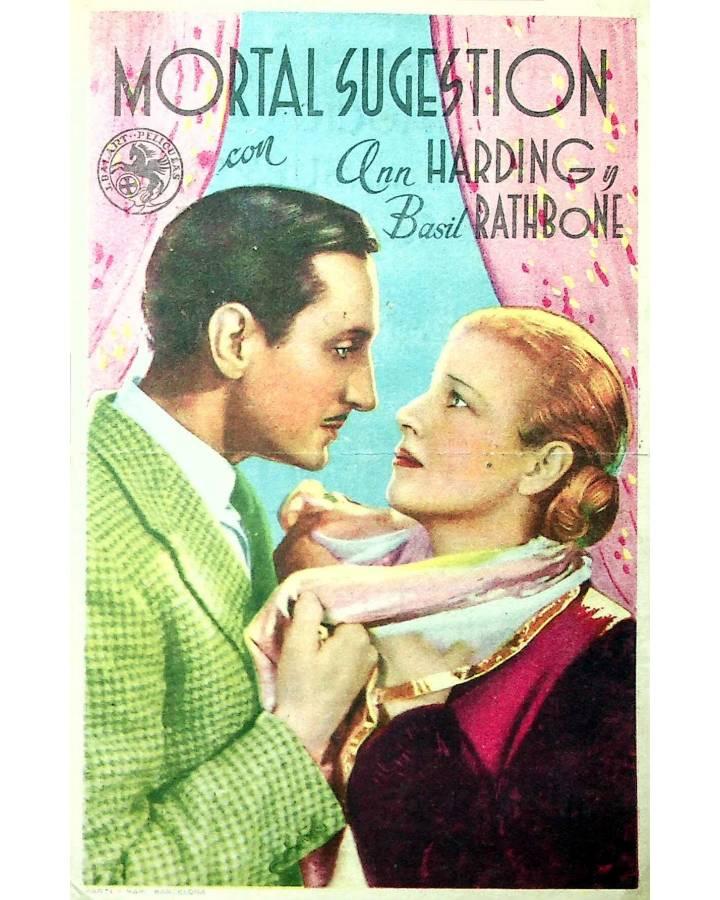 Cubierta de PROGRAMA DE MANO. MORTAL SUGESTIÓN (Rowland V. Lee) 1943. ANN HARDING BASIL RATHBONE