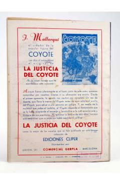 Contracubierta de EL COYOTE 25. EL SECRETO DE MAISE SYER (J. Mallorquí) Cliper 1944