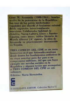 Contracubierta de BÁSICA 15 278-283. TRES CÓMICOS DEL CINE (Cesar Arconada) Castellote 1974