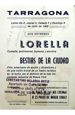 Contracubierta de PROGRAMA DE MANO. BESTIAS DE LA CIUDAD (Vincent Sherman) Columbia Pictures 1961. LEE J. COBB
