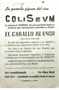 Contracubierta de PROGRAMA DE MANO. EL CABALLO BLANCO (Rafael Baledón) 1962. JOSELITO ANTONIO AGUILAR SARA GARCÍA