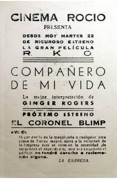 Contracubierta de PROGRAMA DE MANO. COMPAÑERO DE MI VIDA (Edward Dmytryk) R.K.O.. GINGER ROGERS