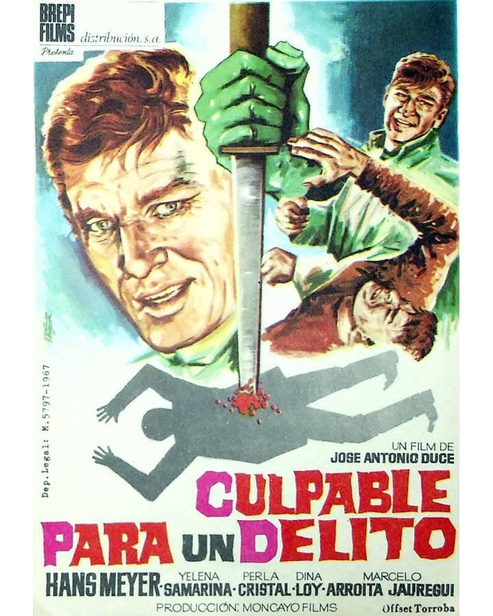 Cubierta de PROGRAMA DE MANO. CULPABLE PARA UN DELITO (José Antonio Duce) 1967. HANS MEYER YELENA SAMARINA