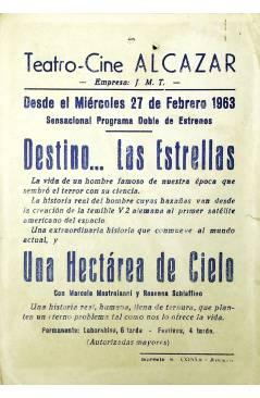 Contracubierta de PROGRAMA DE MANO. DESTINO… LAS ESTRELLAS (J. Lee Thompson) Columbia Pictures 1963. CURT JURGENS