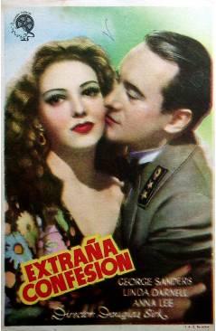Cubierta de PROGRAMA DE MANO. EXTRAÑA CONFESIÓN (Douglas Sirk) 1946. GEORGE SANDERS LINDA DARNELL ANNA LEE