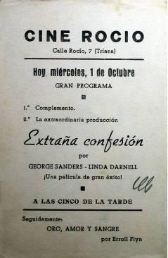 Contracubierta de PROGRAMA DE MANO. EXTRAÑA CONFESIÓN (Douglas Sirk) 1946. GEORGE SANDERS LINDA DARNELL ANNA LEE