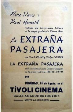 Contracubierta de PROGRAMA DE MANO. LA EXTRAÑA PASAJERA (Irving Rapper) Warner Bros. BETTE DAVIS PAUL HENREID