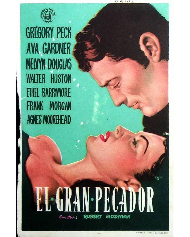 Cubierta de PROGRAMA DE MANO. EL GRAN PECADOR (Robert Siodmak). GREGORY PECK AVA GARDNER MELVYN DOUGLAS