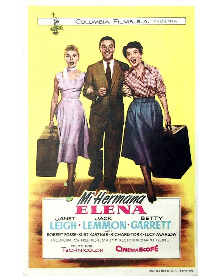 Cubierta de PROGRAMA DE MANO. MI HERMANA ELENA (Richard Quine) Columbia Films 1957. JANET LEIGH