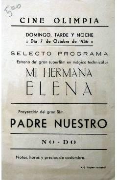 Contracubierta de PROGRAMA DE MANO. MI HERMANA ELENA (Richard Quine) Columbia Films 1957. JANET LEIGH