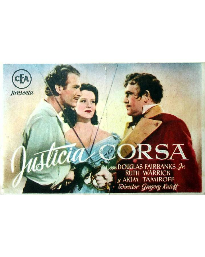 Cubierta de PROGRAMA DE MANO. JUSTICIA CORSA (Gregory Ratoff) 1944. DOUGLAS FAIRBANKS JR. RUTH WARRICK