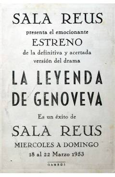 Contracubierta de PROGRAMA DE MANO. LA LEYENDA DE GENOVEVA (Arthur M. Rabenalt) 1953. RASSANO BRAZZI ANNE VERNON