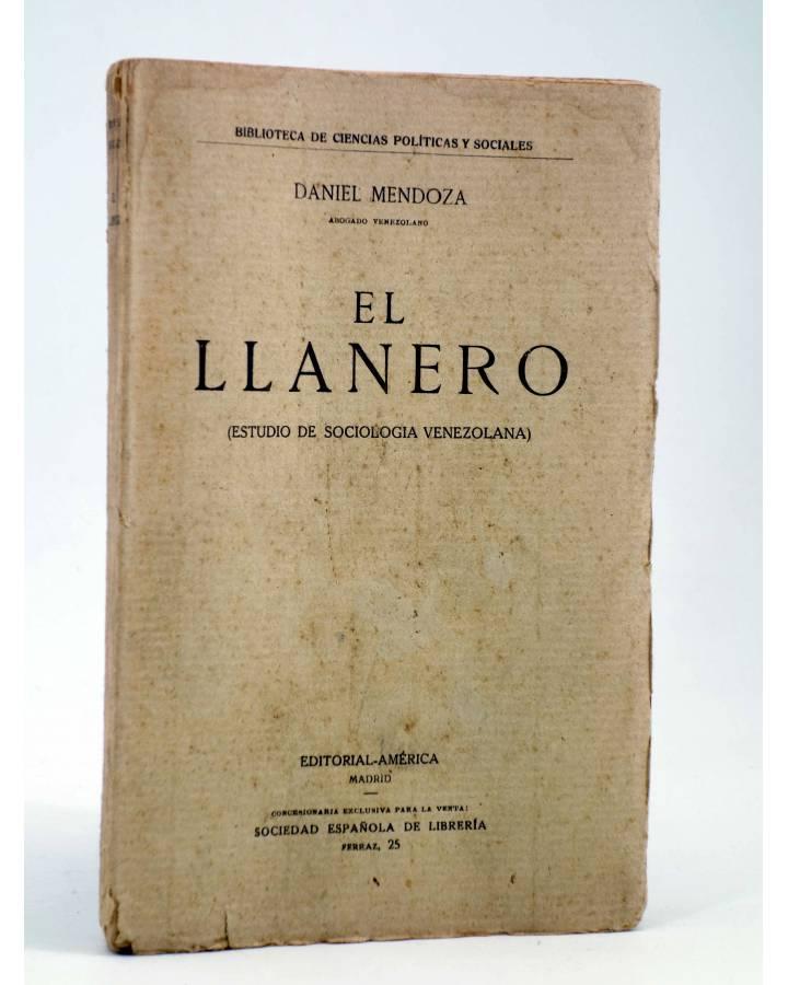 Cubierta de EL LLANERO. ESTUDIO DE SOCIOLOGÍA VENEZOLANA (Daniel Mendoza) América Circa 1910