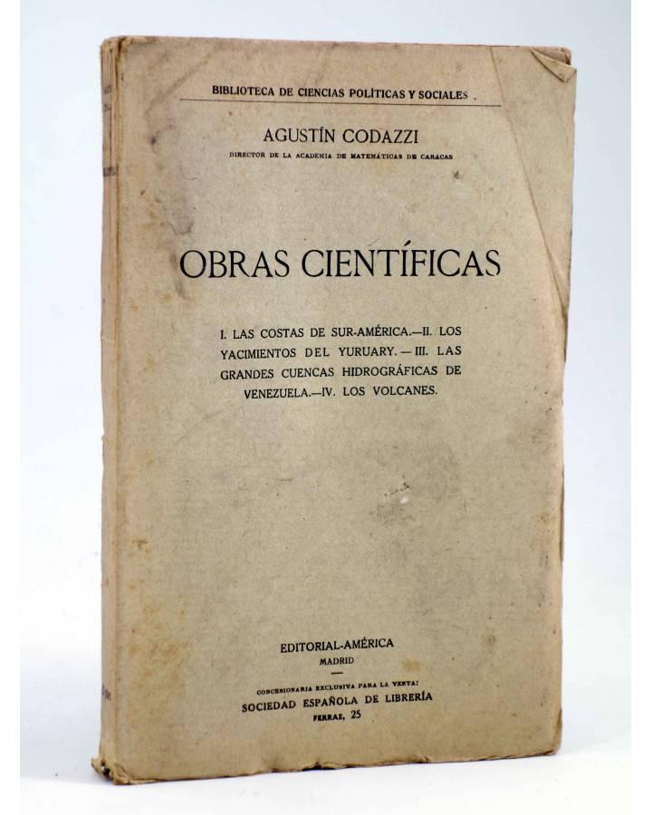 Cubierta de OBRAS CIENTÍFICAS (Agustín Codazzi) América Circa 1917
