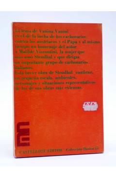 Contracubierta de BÁSICA 15 156-157. VANINA VANINI Y OTROS ESCRITOS (Stendhal) Castellote 1973