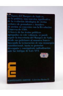 Contracubierta de BÁSICA 15 173-175. ESCRITOS POLÍTICOS (Marqués De Sade) Castellote 1973