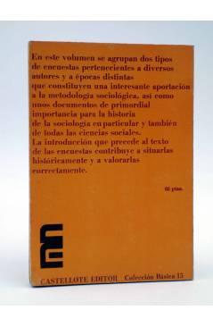 Contracubierta de ENCUESTAS A LOS TRABAJADORES (Karsunke / Wallraff / Marx) Castellote 1973