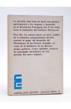 Contracubierta de BÁSICA 15 301-304. LA REVOLUCIÓN PORTUGUESA 25 ABRIL (Da Cruz / Espinar) Castellote 1974