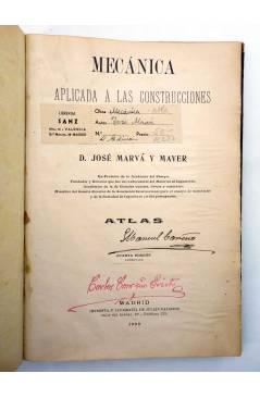 Muestra 1 de MECÁNICA APLICADA A LAS CONSTRUCCIONES. ATLAS (D. José Marvá Y Mayer) Julián Palacios 1909