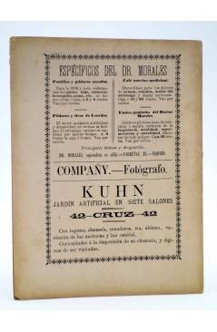 Contracubierta de LOS ÉXITOS. BIBLIOTECA DE TEATROS LIBRETO 2º. LA REVOLTOSA (López Silva / Fernadez Shaw) 1897