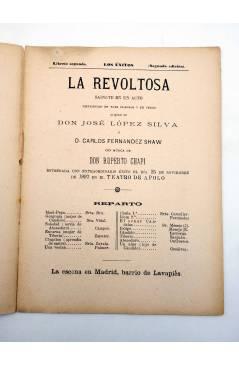 Muestra 1 de LOS ÉXITOS. BIBLIOTECA DE TEATROS LIBRETO 2º. LA REVOLTOSA (López Silva / Fernadez Shaw) 1897