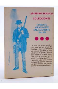 Contracubierta de COMBATE 205. ¡SIN HONOR!. Producciones Editoriales 1980
