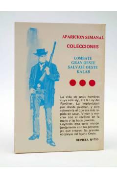 Contracubierta de COMBATE 255. EL FANFARRÓN. Producciones Editoriales 1981