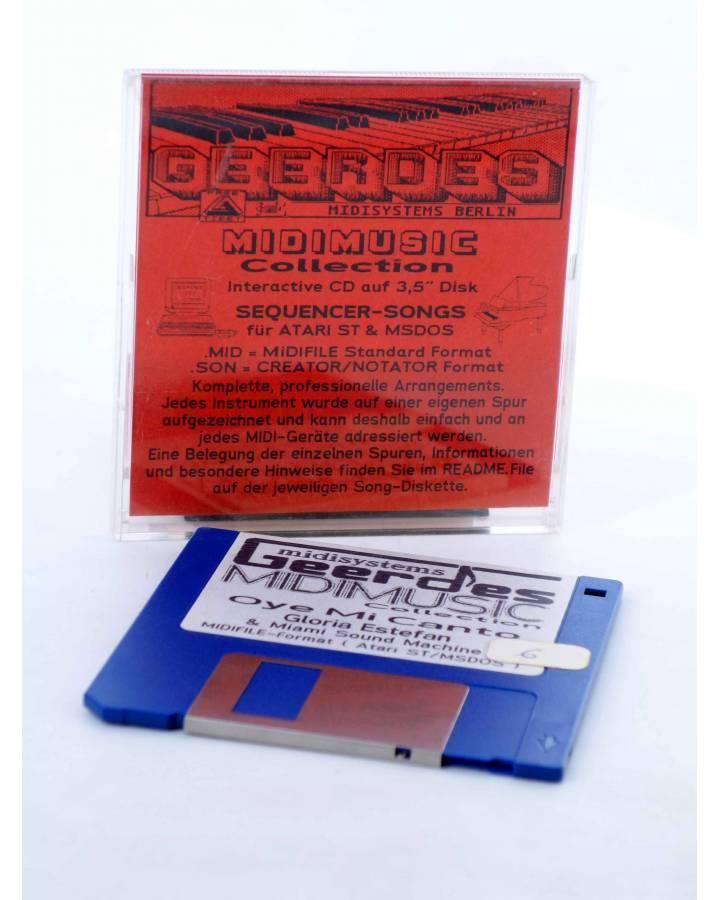 "Cubierta de OYE MI CANTO (Gloria Estefan) Geerdes Midisystem 1989. DISKETTE 35"". ATARI MSDOS. MIDI MUSIC"