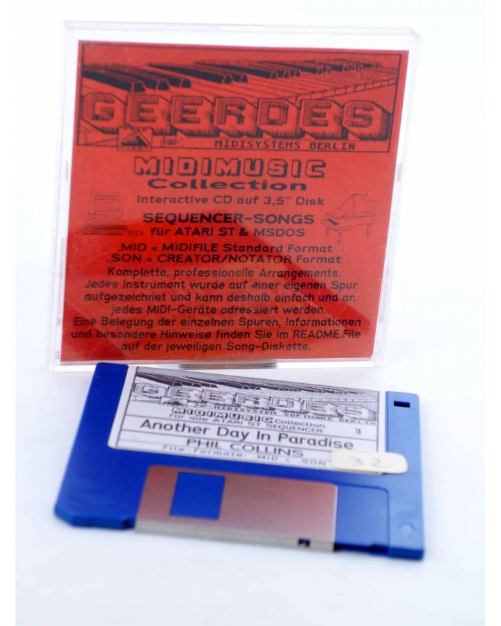 "Cubierta de ANOTHER DAY IN PARADISE (Phil Collins) Geerdes Midisystem 1989. DISKETTE 35"". ATARI MSDOS. MIDI"