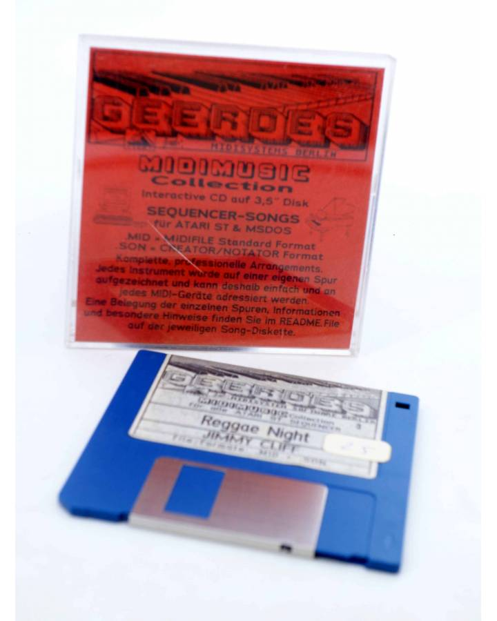 "Cubierta de REGGAE NEGHT (Jimmy Cliff) Geerdes Midisystem 1989. DISKETTE 35"". ATARI MSDOS. MIDI MUSIC"