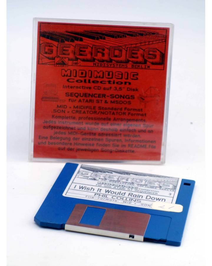 "Cubierta de I WISH IT WOULD RAIN DOWN (Phil Collins) Geerdes Midisystem 1989. DISKETTE 35"". ATARI MSDOS. MIDI"