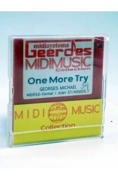 "Contracubierta de ONE MORE TRY (Georges Michael) Geerdes Midisystem 1989. DISKETTE 35"". ATARI MSDOS. MIDI MUSIC"