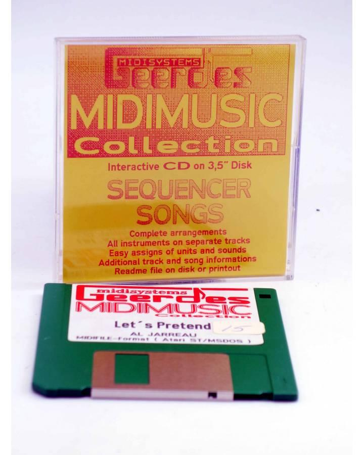"Cubierta de LET'S PRETEND (Al Jarreau) Geerdes Midisystem 1989. DISKETTE 35"". ATARI MSDOS. MIDI MUSIC"