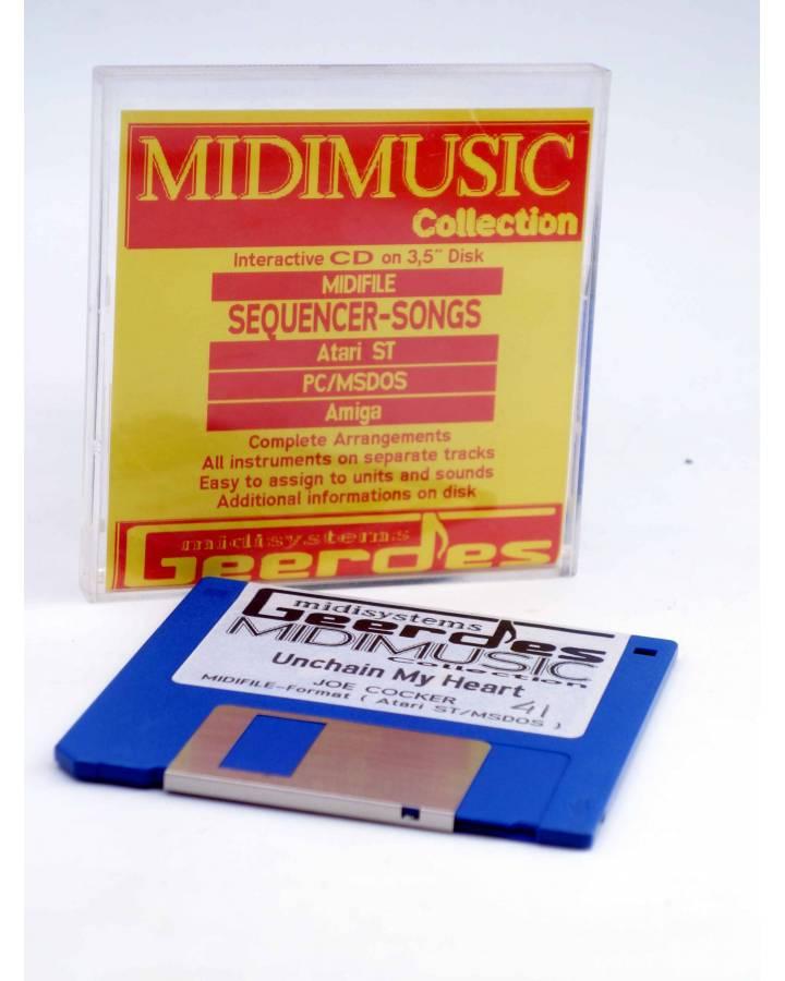 "Cubierta de UNCHAIN MY HEART (Joe Cocker) Geerdes Midisystem 1989. DISKETTE 35"". ATARI MSDOS. MIDI MUSIC"