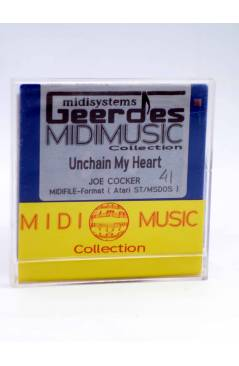 "Contracubierta de UNCHAIN MY HEART (Joe Cocker) Geerdes Midisystem 1989. DISKETTE 35"". ATARI MSDOS. MIDI MUSIC"