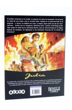 Contracubierta de JULIA LAS AVENTURAS DE UNA CRIMINÓLOGA 2. EN LA MENTE DEL MONSTRUO (Berardi) Aleta 2011