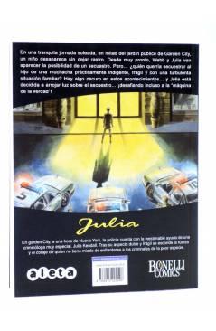 Contracubierta de JULIA LAS AVENTURAS DE UNA CRIMINÓLOGA 3. LOS SECUESTRADORES (Berardi) Aleta 2011