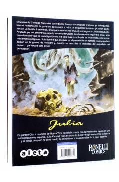 Contracubierta de JULIA LAS AVENTURAS DE UNA CRIMINÓLOGA 5. EL VETERANO (Berardi) Aleta 2012