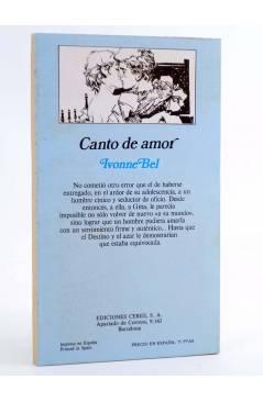 Contracubierta de ARCADIA 18. CANTO DE AMOR (Ivonne Bel) Ceres 1981