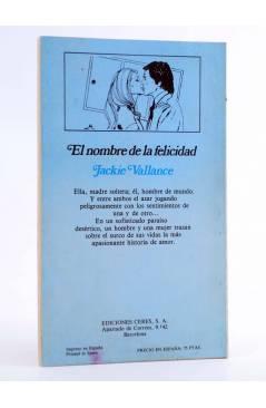 Contracubierta de ARCADIA 34. EL NOMBRE DE LA FELICIDAD (Jackie Vallance) Ceres 1981