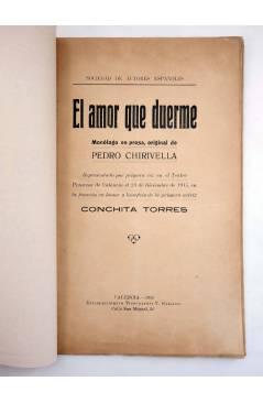 Muestra 1 de EL AMOR QUE DUERME. MONÓLOGO EN PROSA (Pedro Chirivella) Vicente Gallego 1916