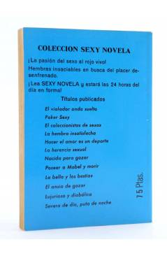 Contracubierta de SEXY NOVELA 10. SEVERA DE DÍA PUTA DE NOCHE (Enrico Farinacci) Producciones Editoriales 1978