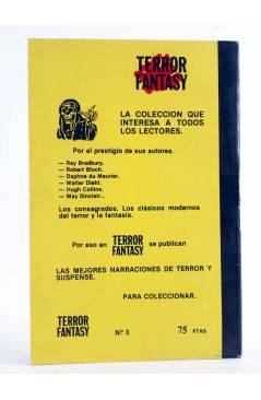 Contracubierta de TERROR FANTASY 3. LOS ESCARABAJOS Y OTROS RELATOS (Robert Bloch) Ediprint 1982