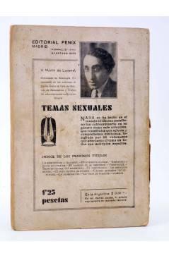 Contracubierta de TEMAS SEXUALES. BIBLIOTECA DE DIVULGACIÓN SEXUAL 12. LA CASTIDAD (A. Martín De Lucenay) Fénix 1933